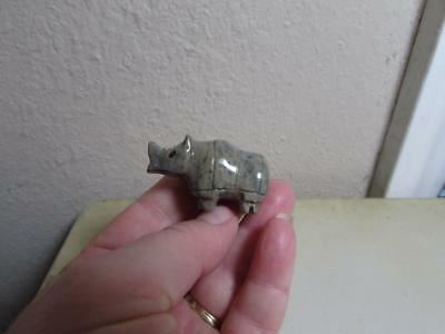 Rhino, Hand carved Stone from the Andes of Peru, Miniature Rhinoceros Unique