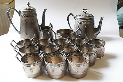 Anituqe Teapot Set, Silver Plated Alpaca 19th century