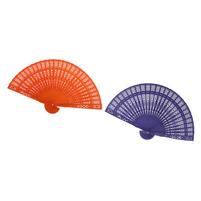 2pcs Victorian Dyed Wood Hollowed Handheld Folding Fan Ladies Outdoor Fans