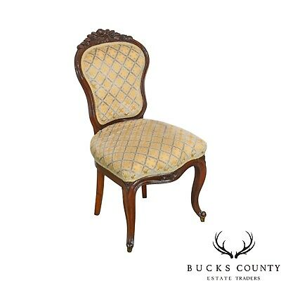 Victorian Antique Carved Mahogany French Style Side Chair