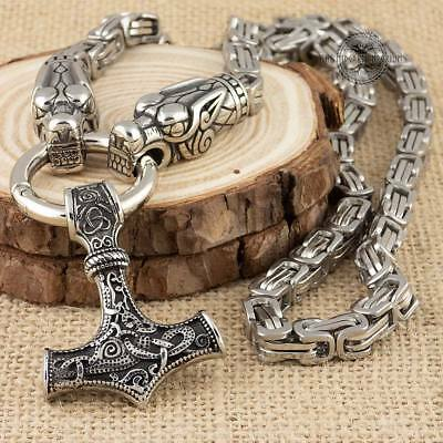 Viking Wolf 6.5mm King Chain Necklace With Thor's Hammer Pendant Stainless Steel