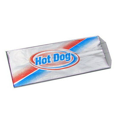 "Foil Hot Dog Bags, 3.5x1.5x8.5"", Stock Printed, 1000 Bags Per Case"