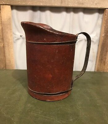 ANTIQUE 1800s United Indurated Fibre Co. New York, Pitcher, Measurer, Primitive