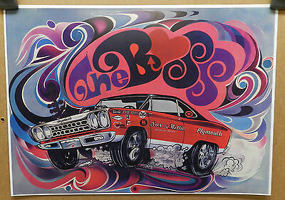 1968 Plymouth Roadrunner Boss Sox Martin Heart 68 Drag Racing Car Craft Poster