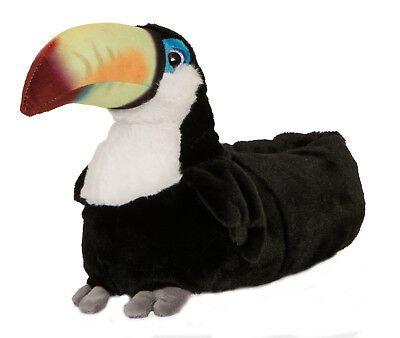 Womens Novelty 3D Toucan Slippers Character Booties Plush Animal Mules Size