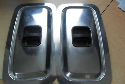 Hostess Dish Lids/ Two With Brown Inset Knobs