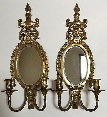 Vintage Pair Of Maitland-Smith Elegant Brass Mirrored Wall Candle Sconces
