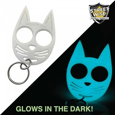 SET OF 3 My Kitty Self-Defense Cat Spike ABS Plastic Keychain - Glow in the Dark