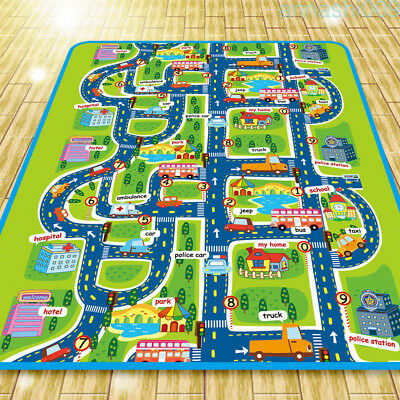 Children's Road Map Kids Play Mat Race Car Rug Runner Nursery Home 130x160cm G1T