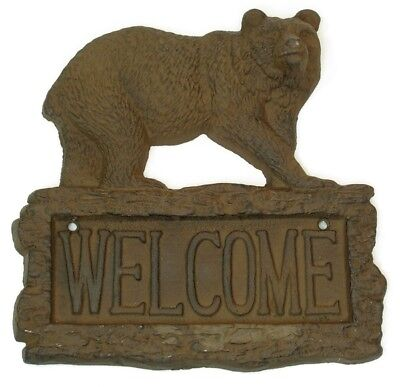 """Bear Cast Iron Welcome Sign 9-1/2"""" x 8-1/2"""" Western Country Americana Decor"""