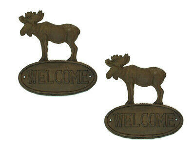 "SET OF 2 Solid Cast Iron Moose Welcome Signs 9.5"" Wall Plaques"