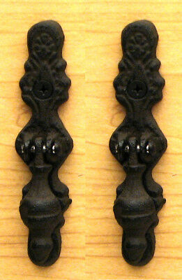 "Set of 2 Cast Iron Vertical Hinged Knobs Cabinet Drawer Pulls Handles 4-1/2""H"