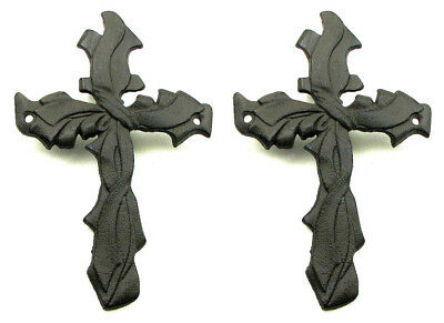 "SET OF 2 Ribbon Style 8"" Cross Cast Iron Christian Wall Decor"
