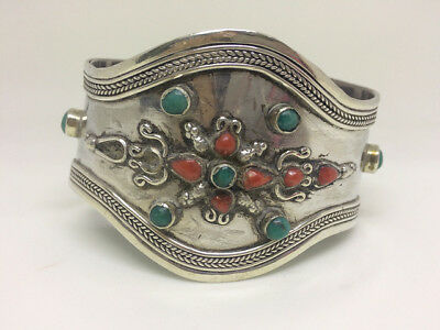 Antique Sterling Silver Bracelet with Coral and Turquoise Stones