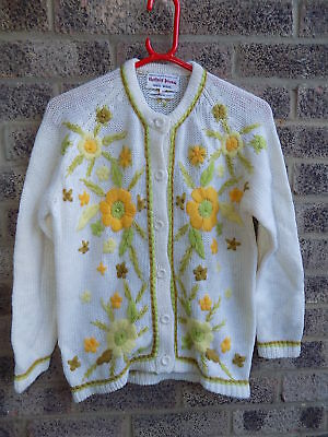 Rare vintage Bonnie Wong hand embroidered flowers wool Cardigan