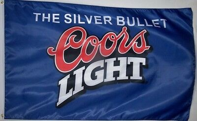 Coors Light Blue Beer Flag 3' X 5' Indoor/Out Silver Bullet Banner USA Sell Fast