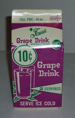1960's GREEN SPOT Grape Drink Carton kids food soda