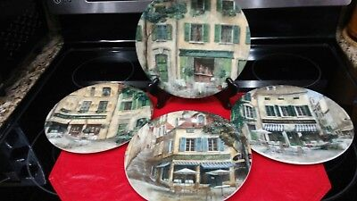 222 Fifth French Cafe Salad Lunch Luncheon Plates, Set of 4.. Nice!
