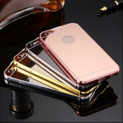Mobile Phone Protective Case Mirror Aluminium + Curb Screen Protector Glass Foil