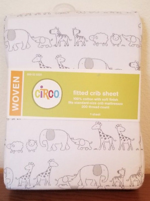 Circo Fitted Crib Sheet Two By Two Animals Gray White Neutral