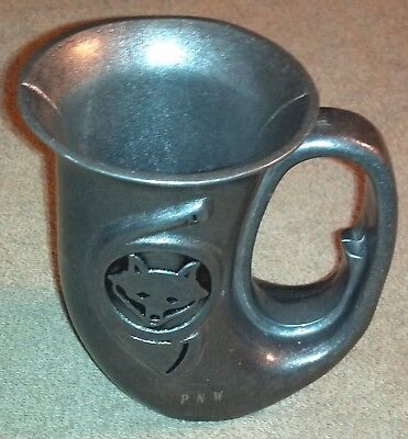 "Vintage Pewter French Horn Fox Hunting Mug Stein Tankard 5"" Tall Stamped PNW"