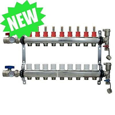 9 Loop/Port Stainless Steel PEX Manifold Radiant Heating w/ connectors - PEX GUY
