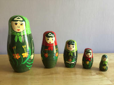 "Set of Five Russian Dolls - Vintage - Collectable - Main Doll = 6"" Tall"