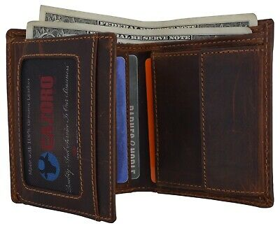 New Cazoro RFID Bifold Trifold Hybrid Mens Vintage Leather Credit Card ID Wallet