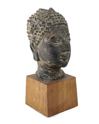 Thai Ayutthaya style Buddha Bust or Head fragment, in Cast Bronze.18th century
