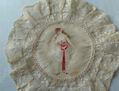 hand painted silk lace doilys placemats antique dancing girls