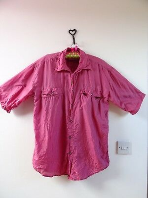 VINTAGE 80s cool PURE SILK over sized shirt mens/ladies unisex deep pink  M