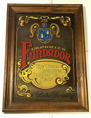 Vintage Smoked Glass Bar Mirror - Fundador Sherry Liqueur From Spain