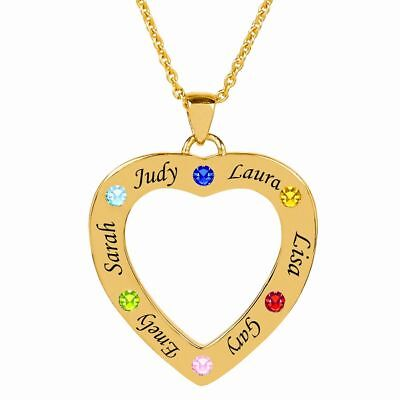 Personalized Family Heart Shaped Necklace Pendant with Birthstones and Engraving