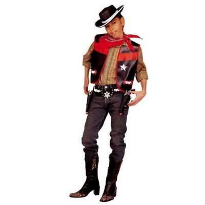 8-10 Years Black Cowboy Costume - Children Vets Sheriff Vest Fancy Dress 140cm