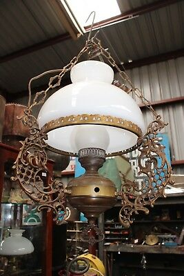 Antique Hanging Oil Lamp Light Fitting Brass Milk Glass Shade