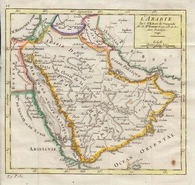 1748 Vaugondy Map of Arabia
