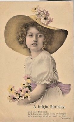Lovely Vintage  Maiden  Birthday Postcard Printed In Saxony 6682