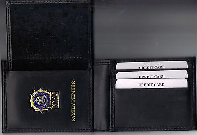 Police Officers Family Member Leather ID Wallet Generic Mini Badge PBA Courtesy