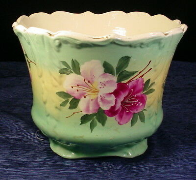 Vintage Flowered Hand Painted Porcelain Jardiniere Planter 7-1/2""