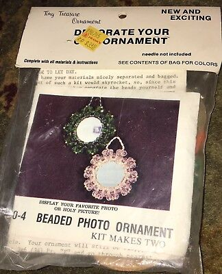 Mac Enterprises Beaded Photo Ornament Christmas Tree Craft KIT Tiny Treasures