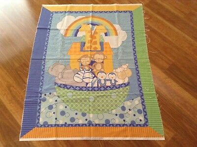 New Cot Quilt Panel Baby Quilting Cotton Material Noah's Ark