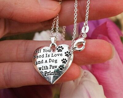 Dog Lover NECKLACE Pawprint Charm Paw Prints Pendant Paws 925 Sterling Silver Ch