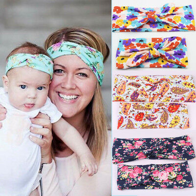 2x Mother & Baby Kids Headband Bow Flower Turban Hair Band Accessories Headwear