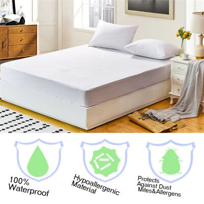 Waterproof Mattress Cover Protector Terry Towel Extra Deep Fitted Sheet Bed Pad