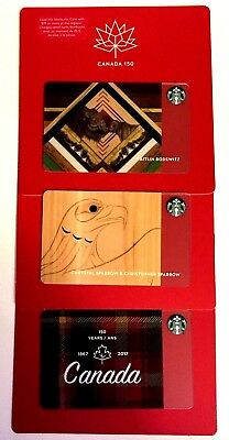 Set of 3 Starbucks Canada 150th Birthday Gift Card Limited Edition NEW