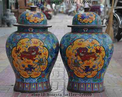"20"" huge CHINA bronze Cloisonne foo dog lion Tanks Crock antique bottle pot pair"