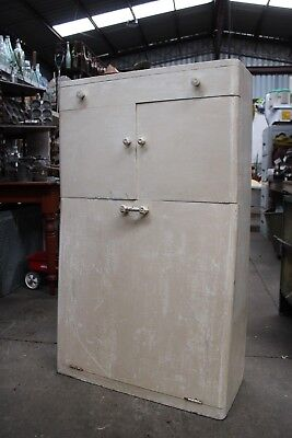 Funky Thin Vintage White Kitchen Cabinet Grain Flour Bin Antique Cupboard