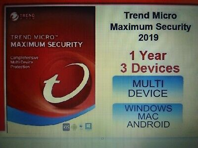 Trend Micro Maximum Security 15 (2019) 1 Years Licence 3 Devices