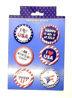 Lapel Pins Patriotic Buttons All American Cutie Love USA Celebrate Six Count New