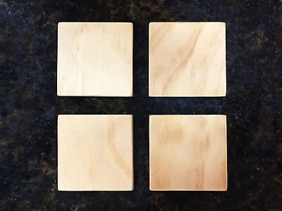 """Chunky Extra Thick Wood Square Tiles, 2"""" x 2"""" x 3/8"""", Unfinished Pine Wood"""